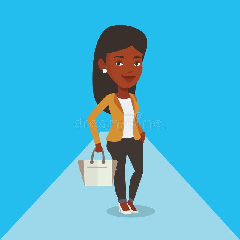 Kvinna som poserar på catwalk under modeshow vektor illustrationer