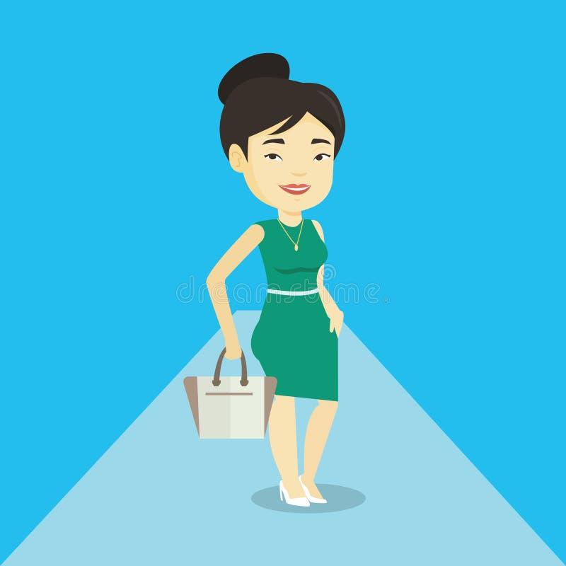 Kvinna som poserar på catwalk under modeshow royaltyfri illustrationer
