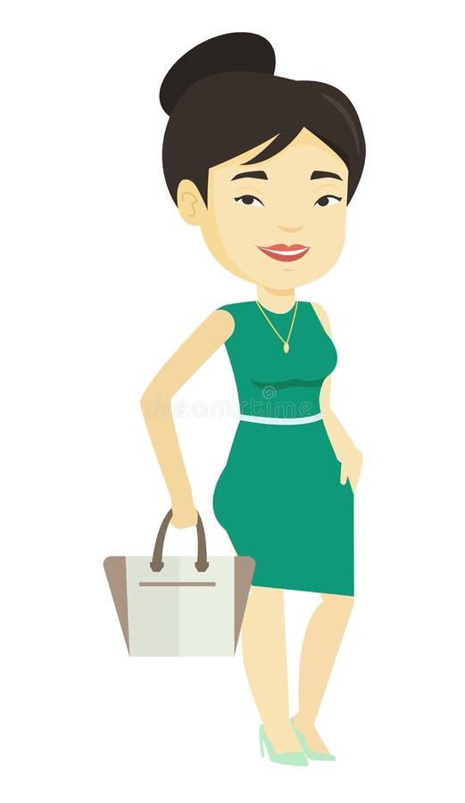 Kvinna som poserar på catwalk under modeshow stock illustrationer