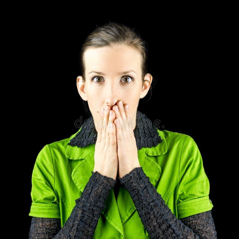 Kvinna som reagerar i chock eller häpnad arkivfoto