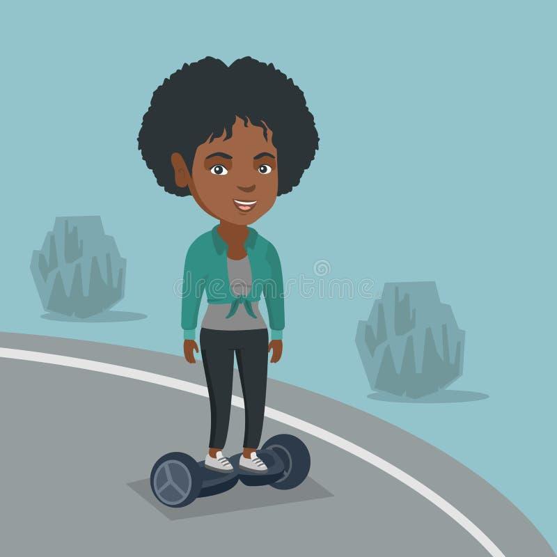 Kvinna som rider enbalansera elektrisk sparkcykel stock illustrationer