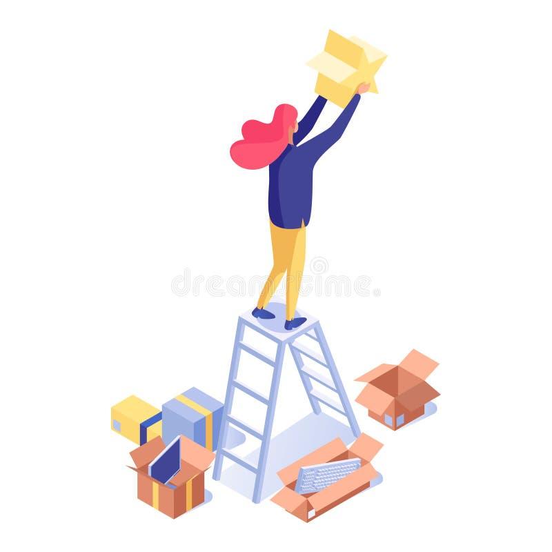 Kvinna som rymmer att klassa den isometriska illustrationen för stjärna Kvinnlign shoppar assistenten, säljareanseende på stege o vektor illustrationer