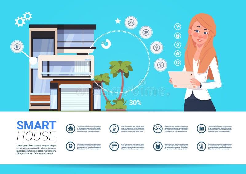 Kvinna som rymmer den Digital minnestavlan med begrepp för manöverenhet för system för för Smart hemkontroll och administration vektor illustrationer