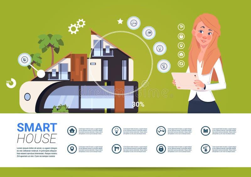 Kvinna som rymmer den Digital minnestavlan med begrepp för manöverenhet för system för för Smart hemkontroll och administration royaltyfri illustrationer
