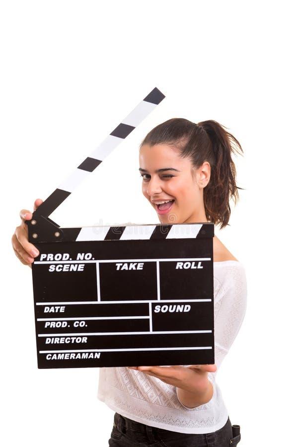 Kvinna som rymmer en panelbräda royaltyfri fotografi