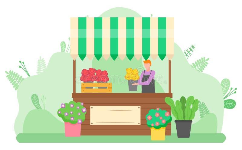 Kvinna som säljer buketter av blommor på gatavektor vektor illustrationer