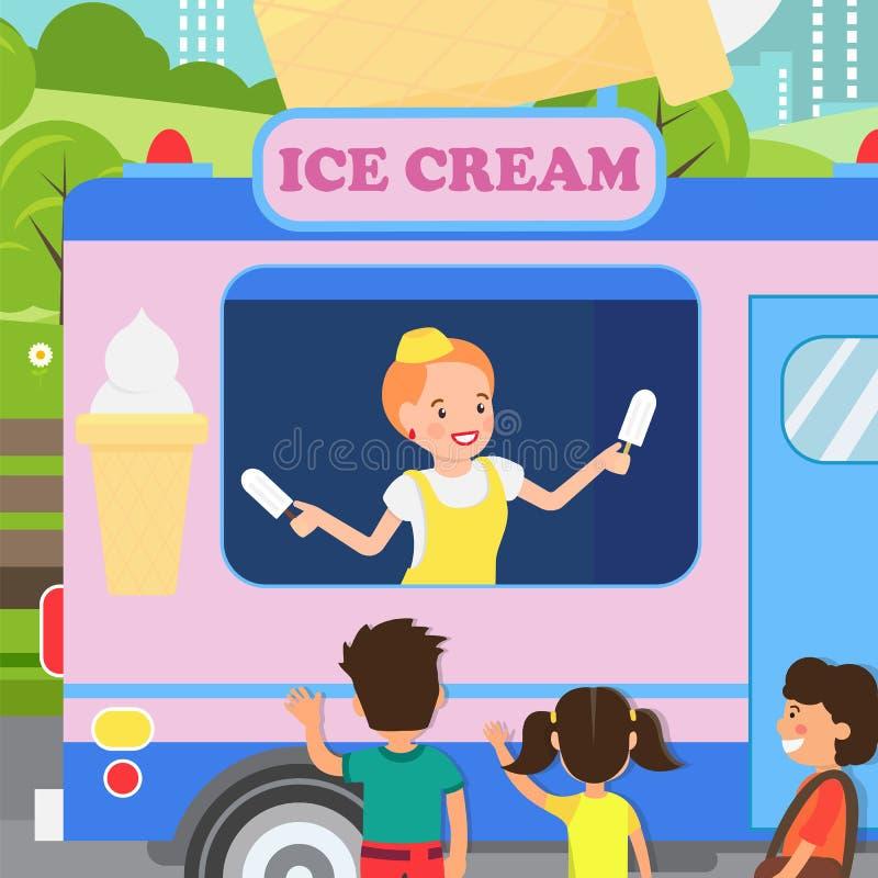 Kvinna som säljer den plana illustrationen för Vanilla Ice kräm royaltyfri illustrationer