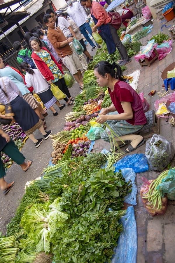 Kvinna som säljer jordbruksprodukter i marknad Luang Prabang för öppen luft royaltyfri fotografi