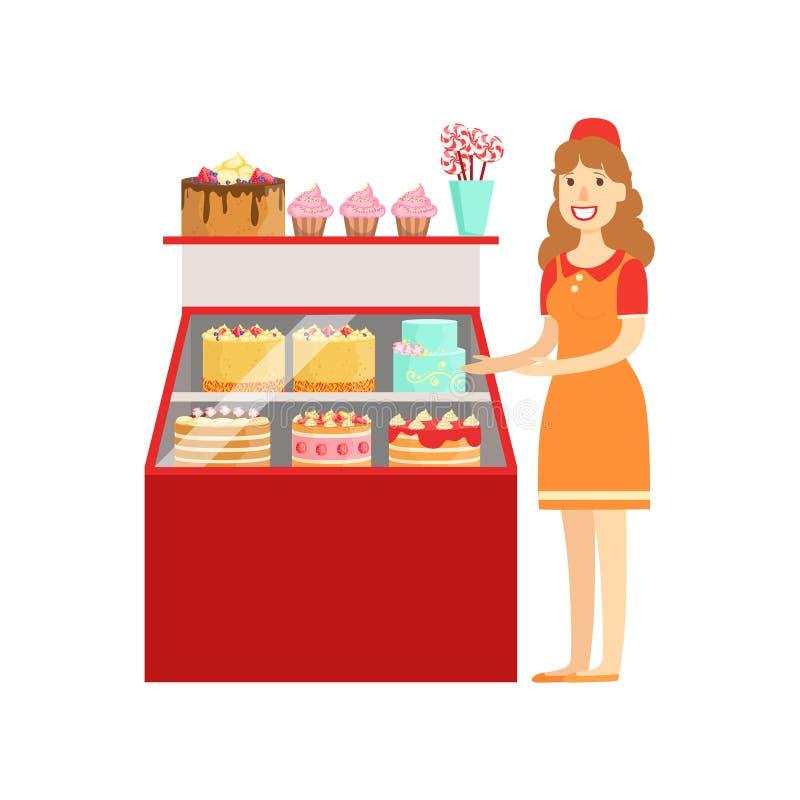 Kvinna som säljer kakor och den bageri-, shoppinggalleria- och varuhusavsnittillustrationen royaltyfri illustrationer