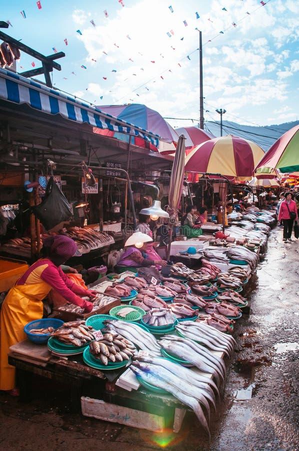 Kvinna som säljer nya fiskar på Jagalchi den havs- marknaden, Busan, så fotografering för bildbyråer
