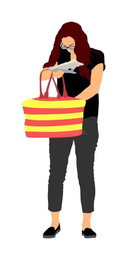 Kvinna som söker efter en plånbok, tangenter på påsen, vektorillustration Stressigt läge på gatan, förlust av pengar Den turist-  stock illustrationer