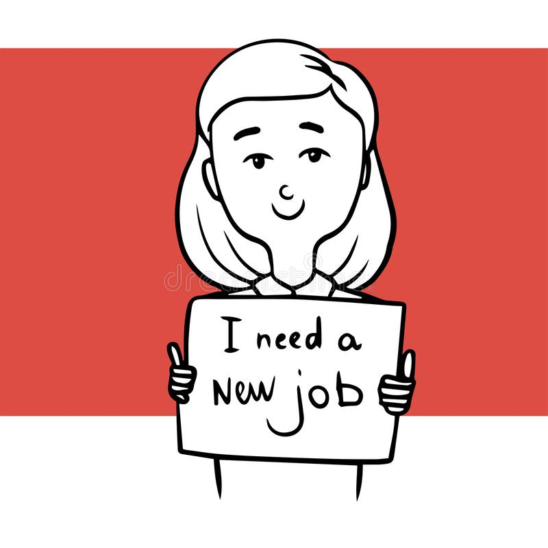 Kvinna som söker efter ett nytt jobb klotter stock illustrationer