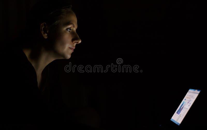 Kvinna som sent använder bärbara datorn på natten fotografering för bildbyråer