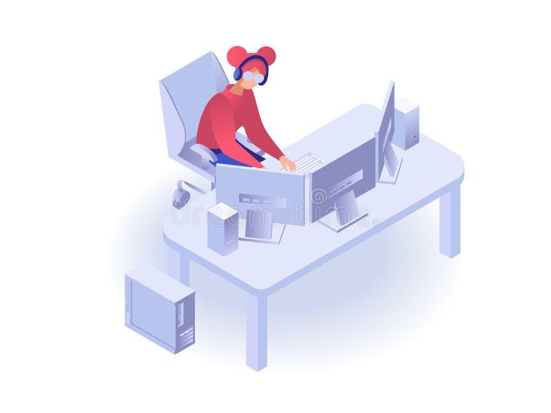 Kvinna som ser en datorskärm royaltyfri illustrationer