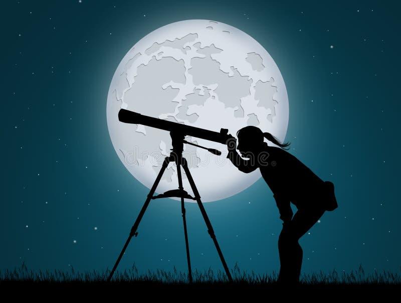 Kvinna som ser i teleskopet stock illustrationer