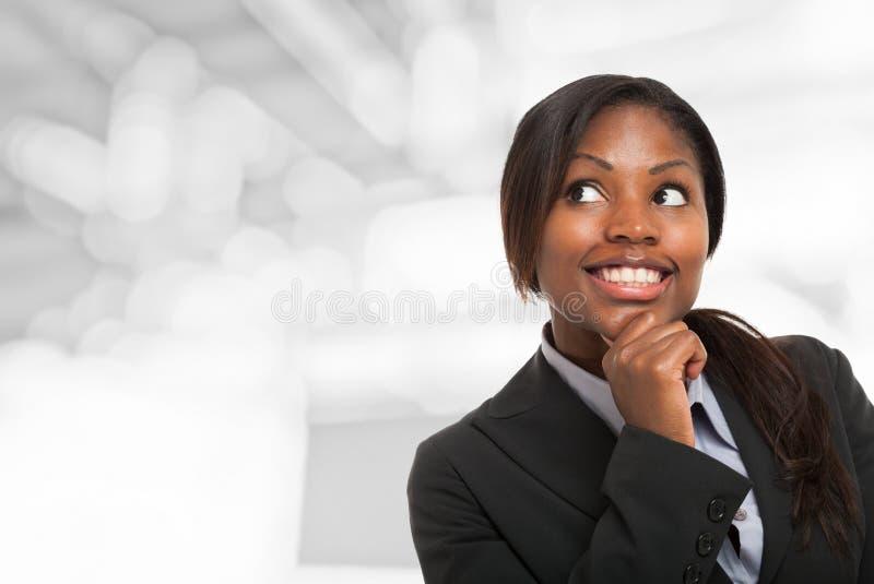 Kvinna som ser till copyspacen royaltyfria bilder