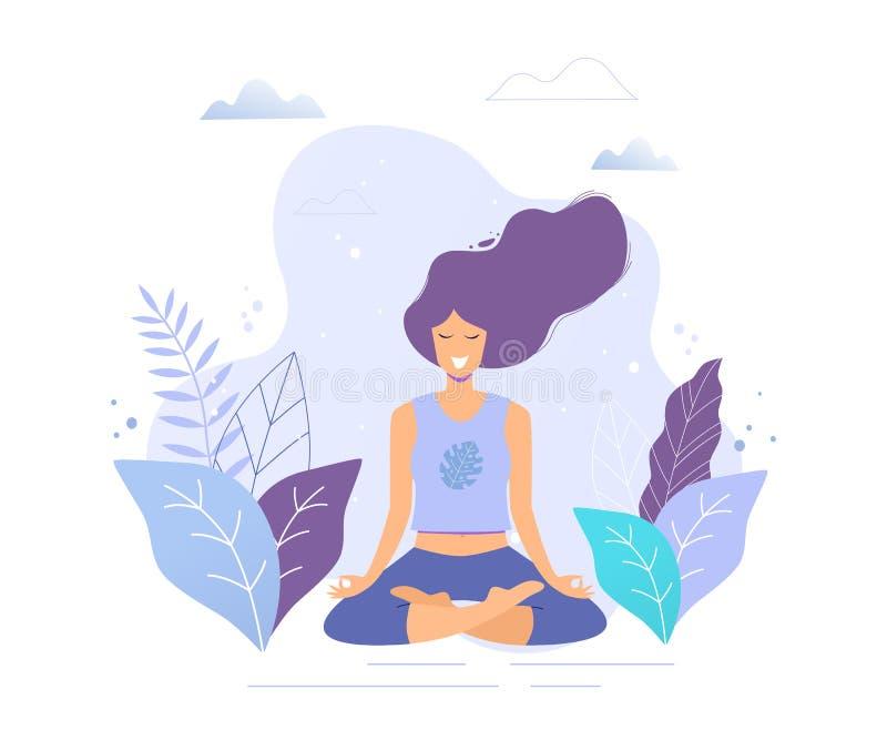 Kvinna som sitter i övande meditation för lotusblommaposition isolerad vit yoga för bakgrund flicka stock illustrationer