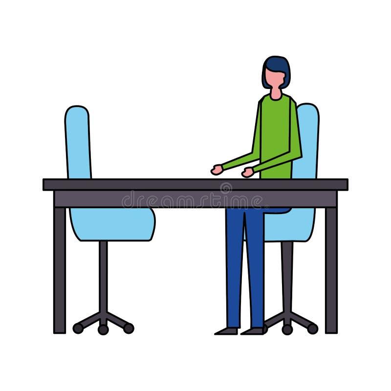 Kvinna som sitter i kontoret med tv? stolar stock illustrationer