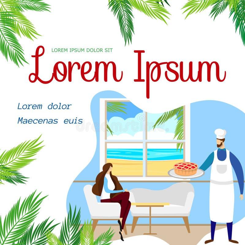 Kvinna som sitter i sjösidakafé med tropisk sikt royaltyfri illustrationer