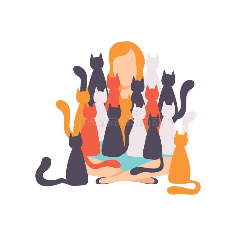 Kvinna som sitter på golvet som omges av många katter, förtjusande husdjur och deras ägarevektorillustration på ett vitt vektor illustrationer