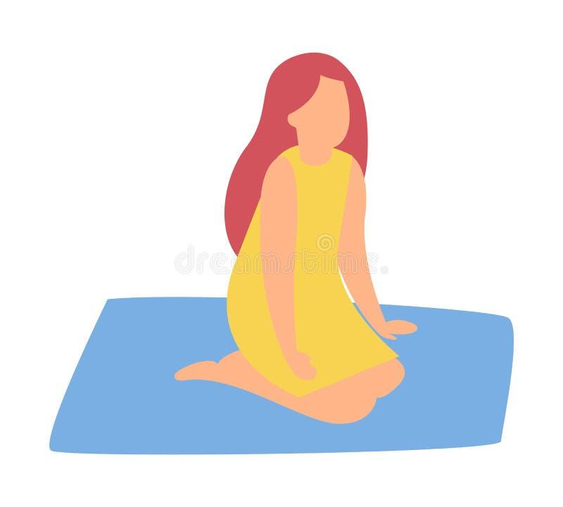 Kvinna som sitter på matta isolerat tecknad filmtecken stock illustrationer