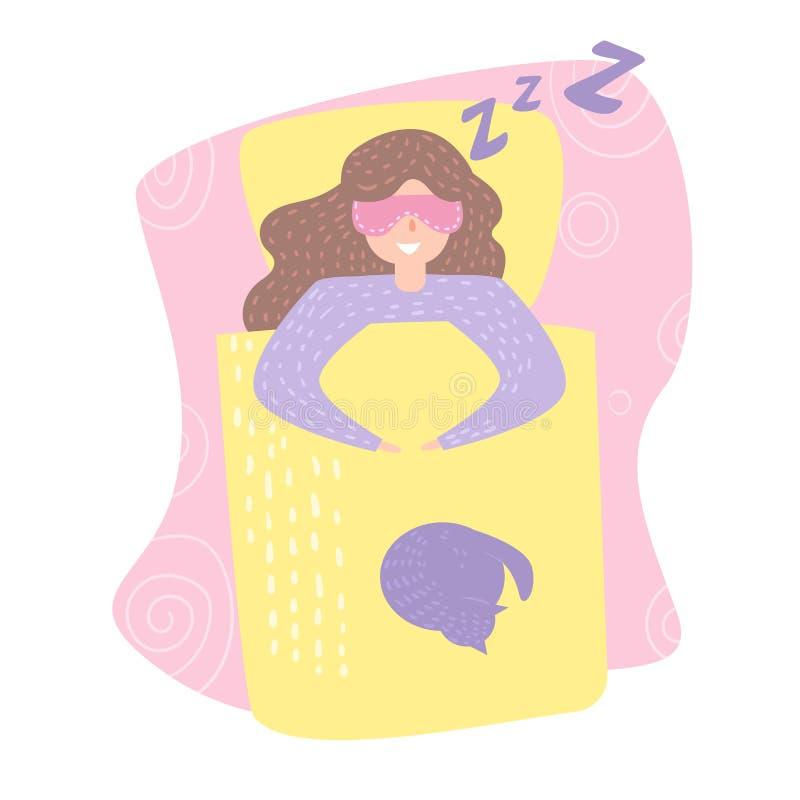 Kvinna som sover i sängvektor cartoon Isolerad konst på vit bakgrund stock illustrationer
