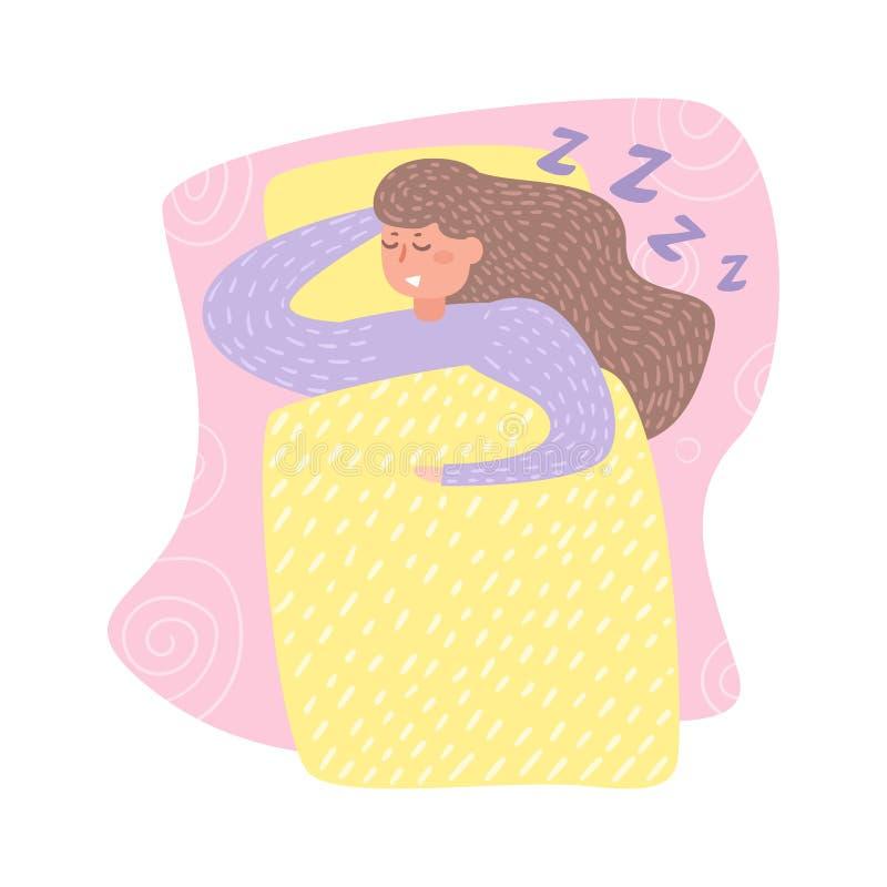 Kvinna som sover i sängvektor cartoon Isolerad konst på vit bakgrund vektor illustrationer
