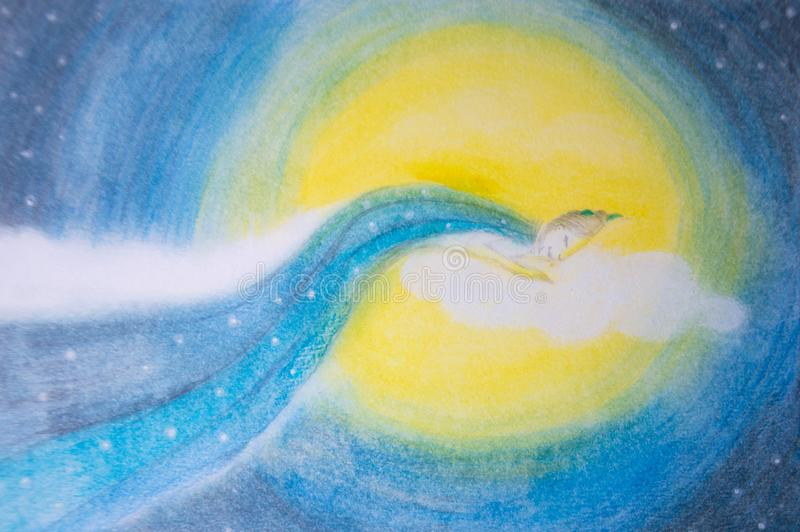 Kvinna som sover och drömmer på månen och molnet - hand som dåligt målas stock illustrationer