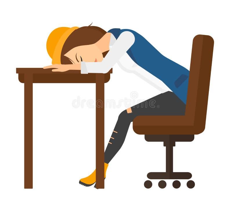 Kvinna som sover på tabellen stock illustrationer