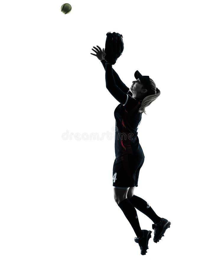Kvinna som spelar den isolerade konturn för softballspelare fotografering för bildbyråer