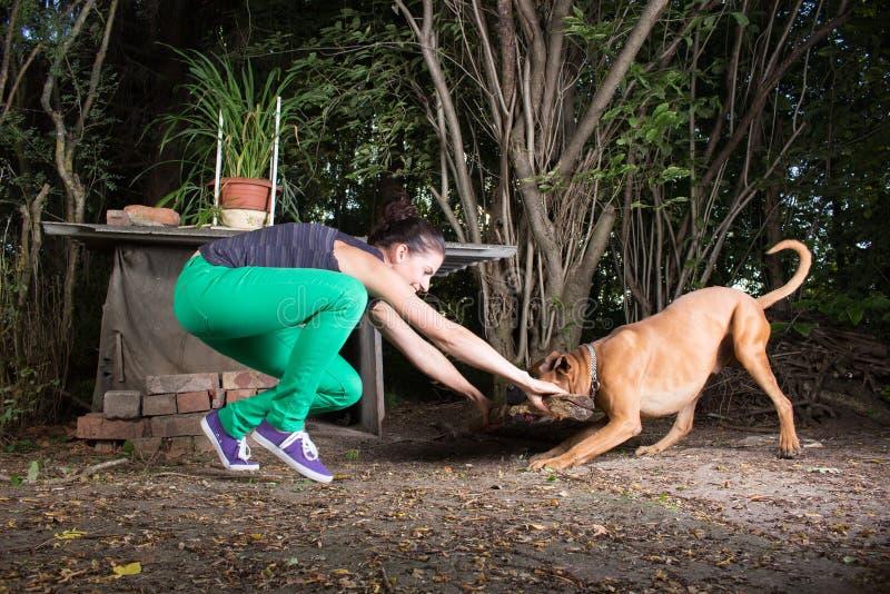 Kvinna som spelar med hennes hund arkivbild