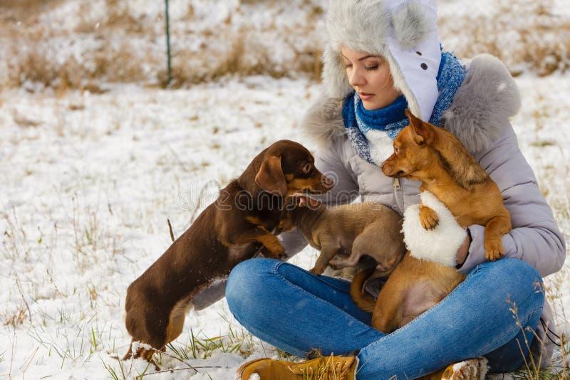 Kvinna som spelar med hundkappl?pning under vinter royaltyfria bilder