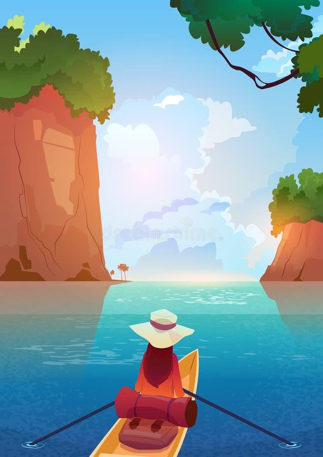 Kvinna som svävar i fartyg i berg begrepp för semester för affärsföretag för sjösommar vektor illustrationer