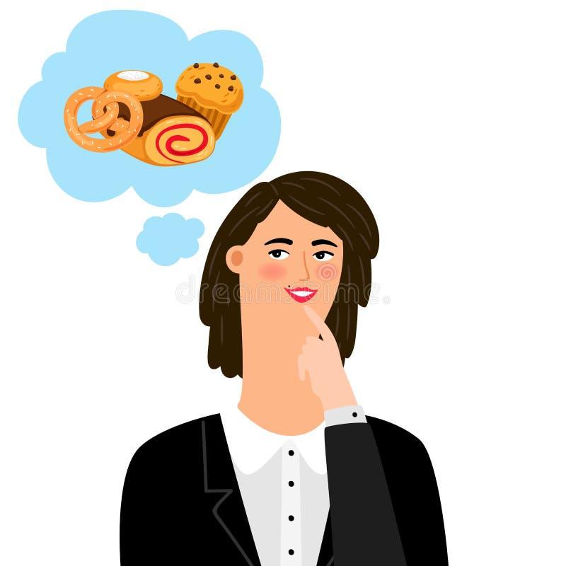 Kvinna som tänker om bageriprodukter royaltyfri illustrationer