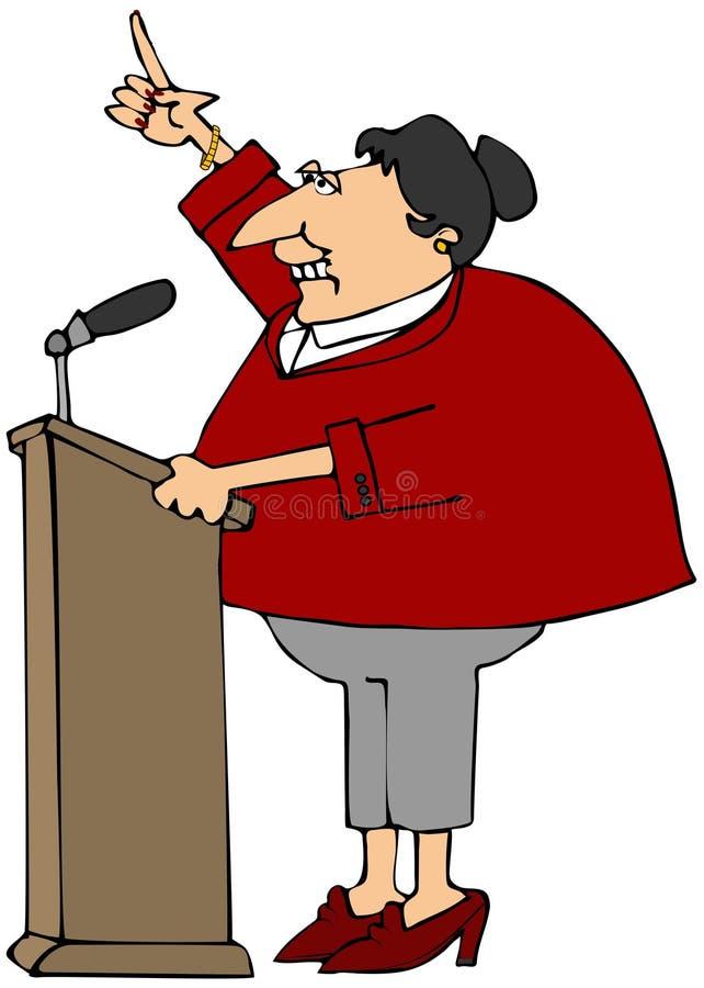Kvinna som talar på ett podium royaltyfri illustrationer