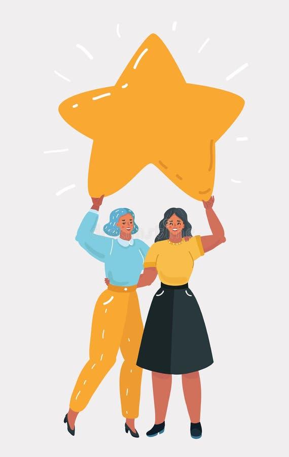 Kvinna som tillsammans rymmer den stora stjärnan vektor illustrationer