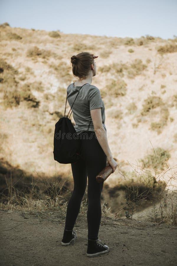 Kvinna som trekking i dalen arkivfoton
