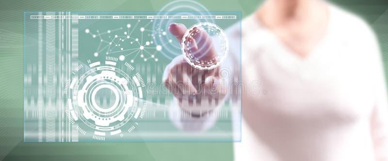 Kvinna som trycker på ett faktiskt teknologibegrepp stock illustrationer