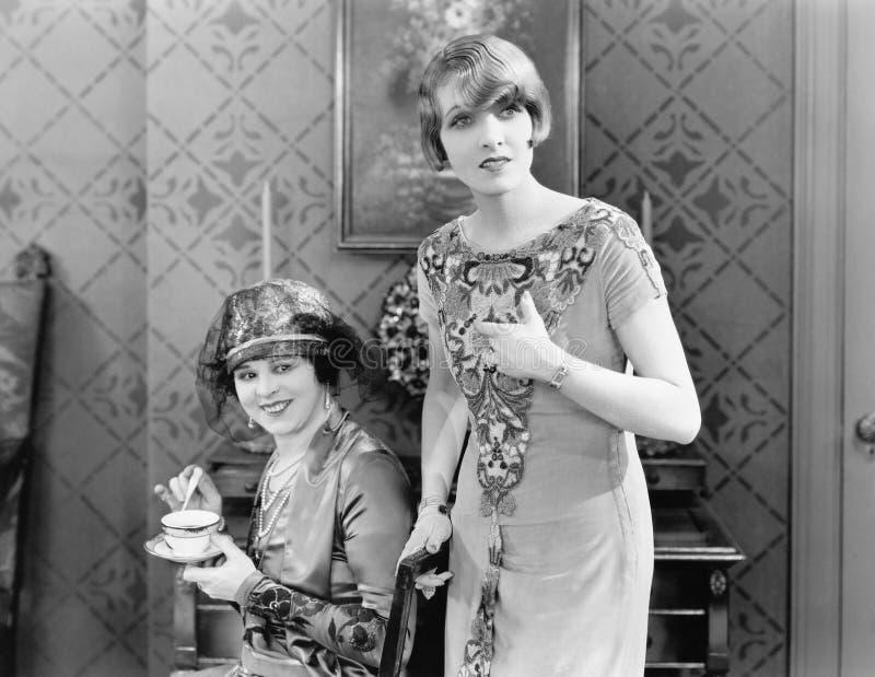 Kvinna som två tillsammans står i vardagsrummet (alla visade personer inte är längre uppehälle, och inget gods finns Leverantörbe arkivbild