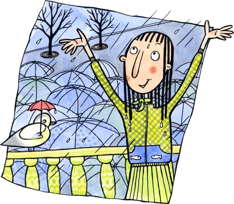 Kvinna som tycker om regnet stock illustrationer