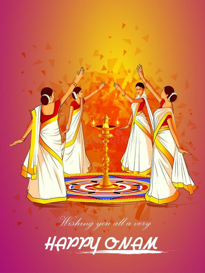 Kvinna som utför den Thirvathirakali dansen för den lyckliga Onam festivalen av södra Indien Kerala bakgrund royaltyfri illustrationer