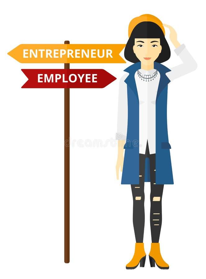 Kvinna som väljer karriärvägen stock illustrationer