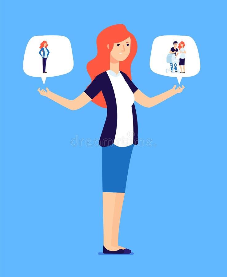 Kvinna som väljer mellan familjen och karriären Den lyckade kvinnlign gör ansvarig väljer Affärs- och förälderlivjämvikt vektor illustrationer