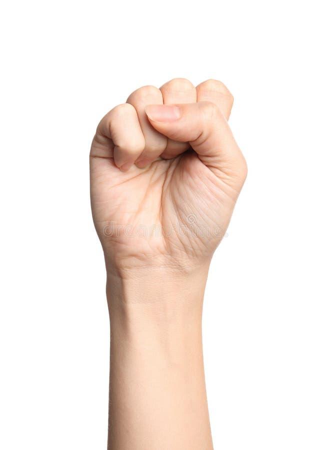 Kvinna som visar s-bokstaven på vitt, closeup Teckenspråk arkivfoto