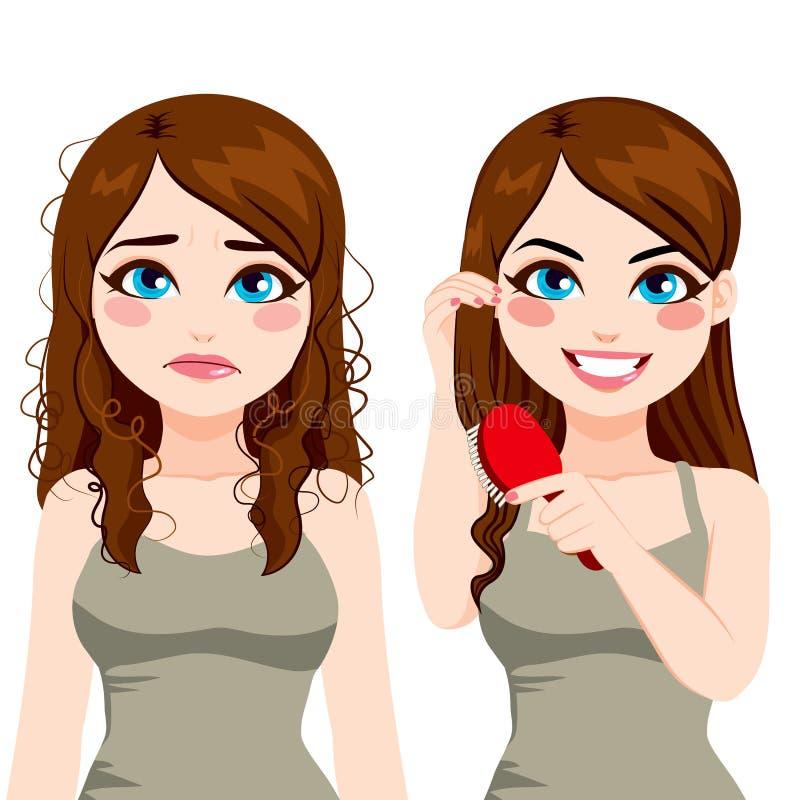 Kvinna tilltrasslat borsta för hår royaltyfri illustrationer