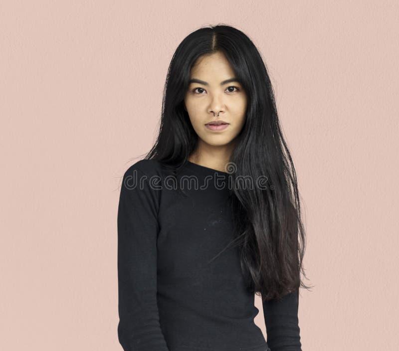 Kvinna trängd igenom näsa Ring Confidence Self Esteem Portrait royaltyfria foton