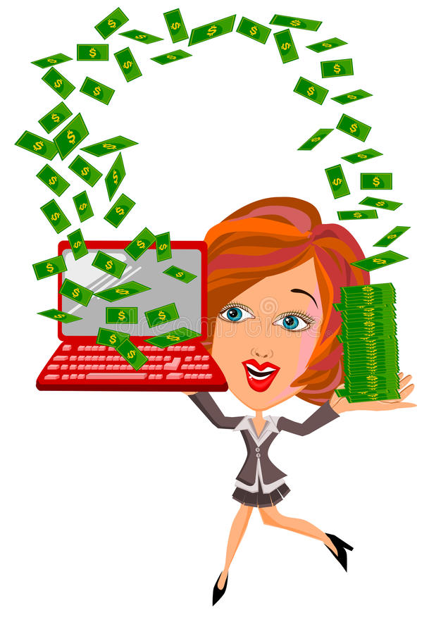 Kvinna under pengarregn royaltyfri illustrationer