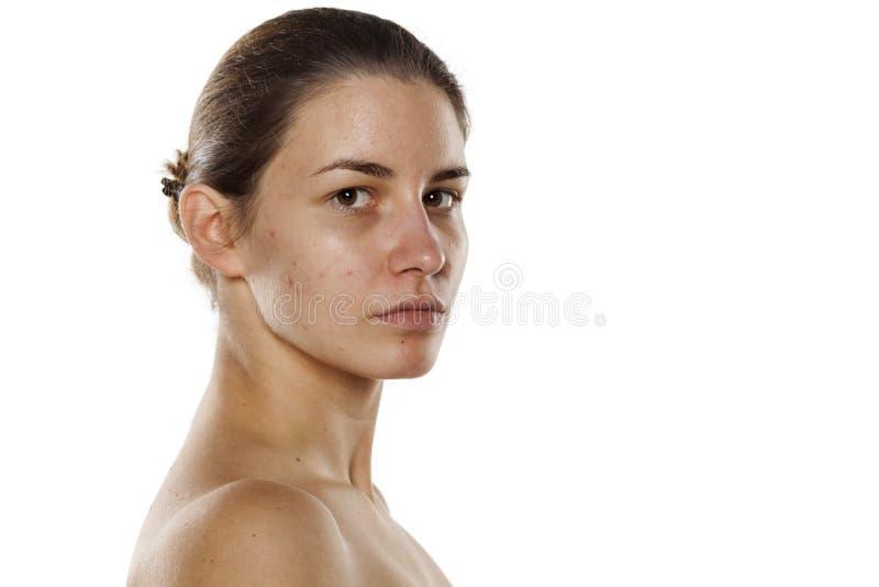 Kvinna utan makeup royaltyfria bilder