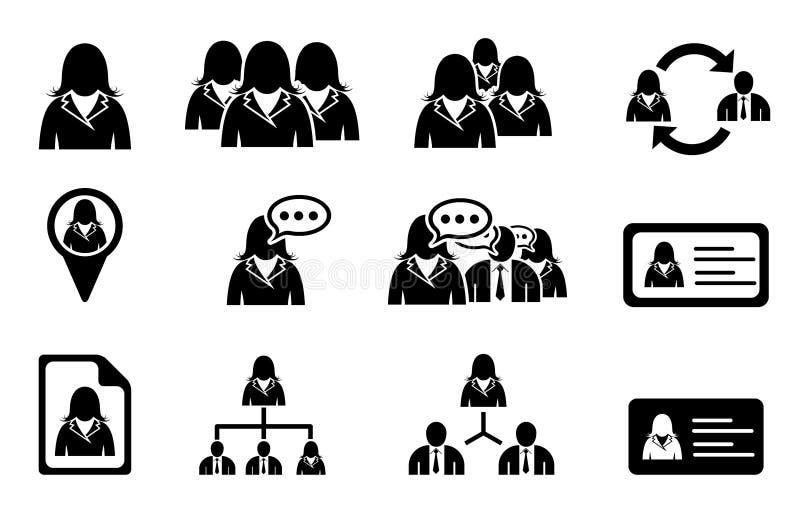 Kvinnaadministrationssymboler stock illustrationer