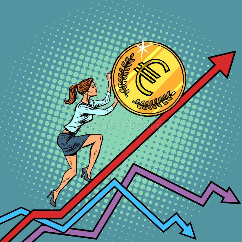 Kvinnaaffärskvinnarulle ett euromynt upp vektor illustrationer